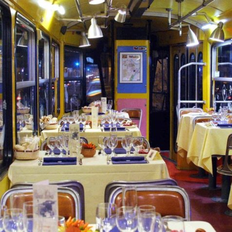 dinner on the historic tram in Turin